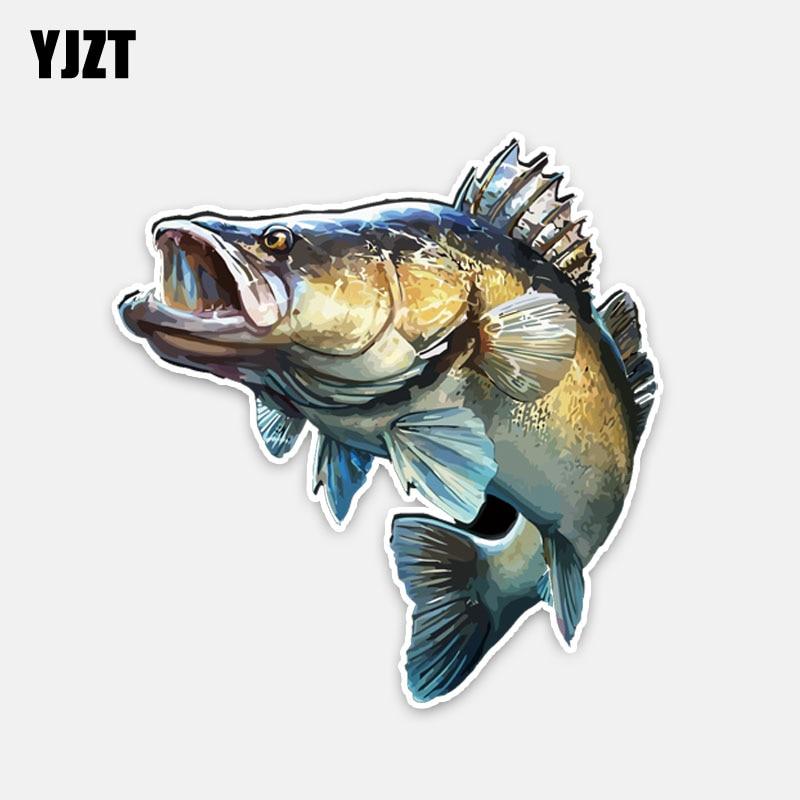 YJZT 14CM*14.7CM Personality Animal Fish PVC Car Styling Car Sticker Decal 5-0204