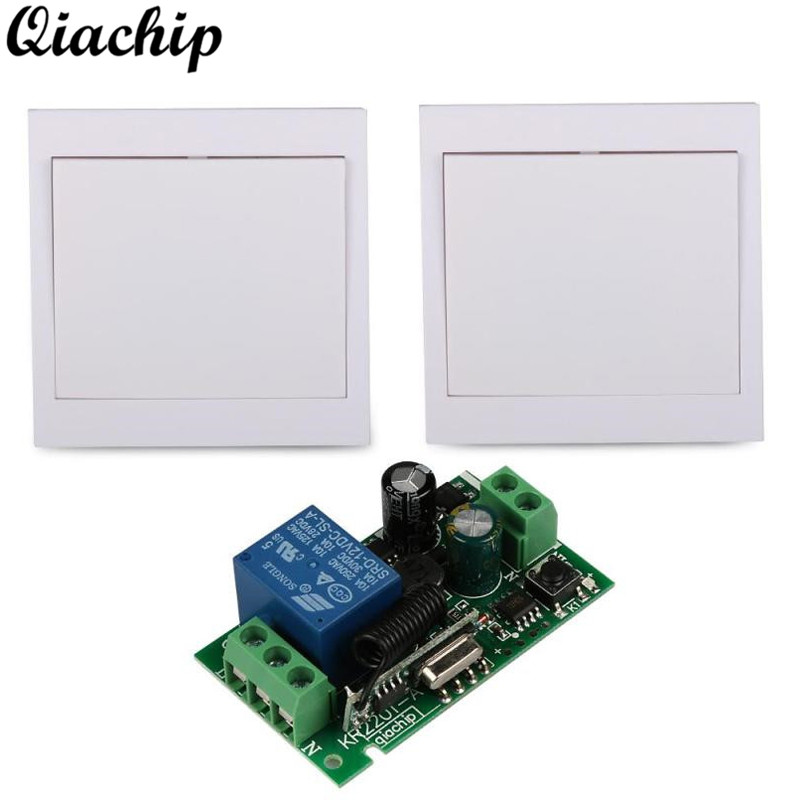 QIACHIP AC 220V 1CH Wall Panel Receiver Remote Control Switch Room Stairway Light Lamps and RF RX TX Remote Controls Transmitter mini stable 10a 220v 1ch rf remote control switch system for led bulb light strips receiver 86 wall panel transmitter