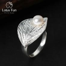 Lotus Diversión Verdadera Plata de Ley 925 el Diseñador de Joyería Fina Perla Natural Hecho A Mano Creativo Hoja Anillos Anillo Abierto para Las Mujeres Bijoux