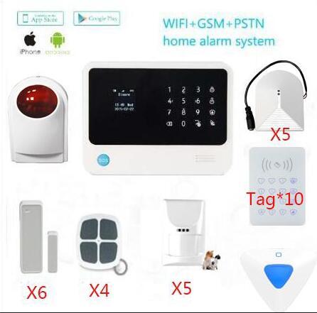 Wifi gsm système d'alarme à domicile interphone bidirectionnel alarme antivol avec détecteur de gaz capteur PIR immunitaire sirène extérieure clavier désarmer
