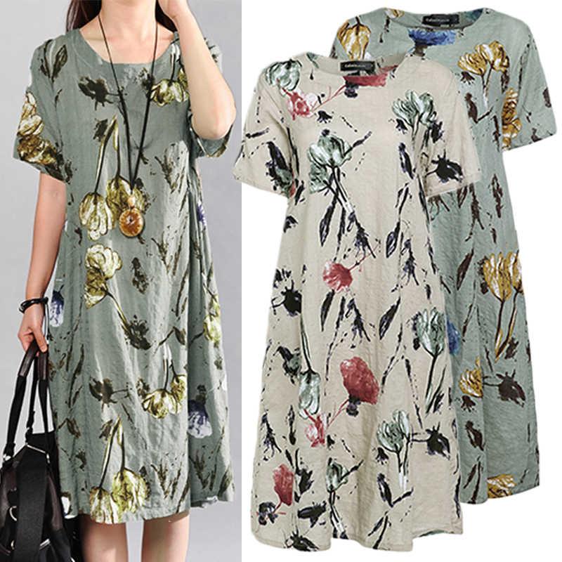 f6545af5a21f Celmia 2019 Summer Dress Women Vintage Floral Print Casual O neck Short  Sleeve Pockets Loose Midi