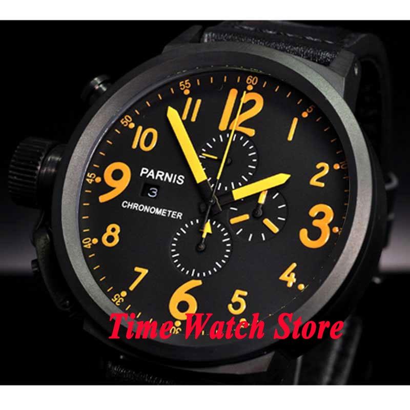 Parnis watch 50mm black dial Full chronograph date yellow mark PVD case quartz movement Men s