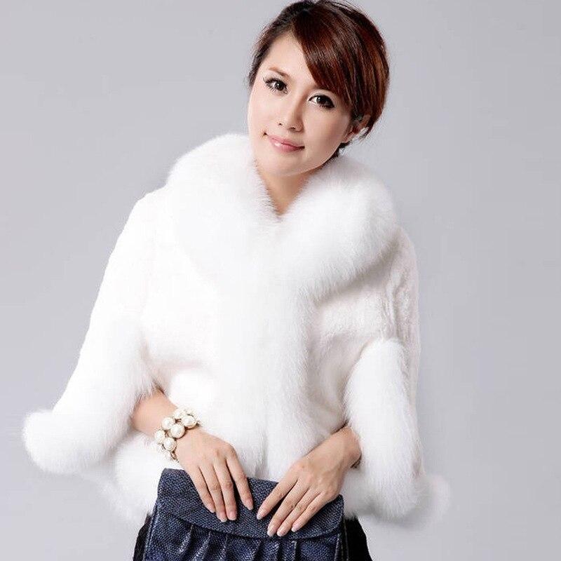 2018 New Fur Faux Coat Mink Hair Rex Rabbit Hair Cape Jacket Black White Fur Overcoat Imitation Rabbit Fur Faux Fox Collar A0150