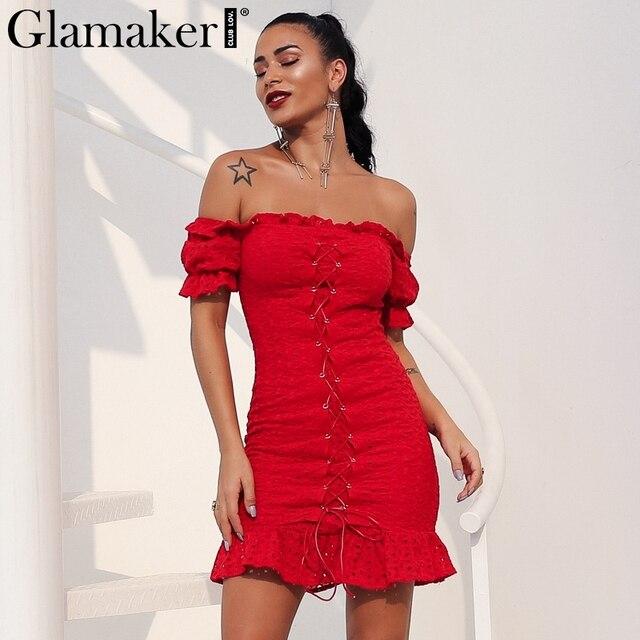 f2db5d3781a Glamaker Ruffle sexy mesh summer bodycon dress Women off shoulder lace up bodycon  dress Elegant beach club causal short dress