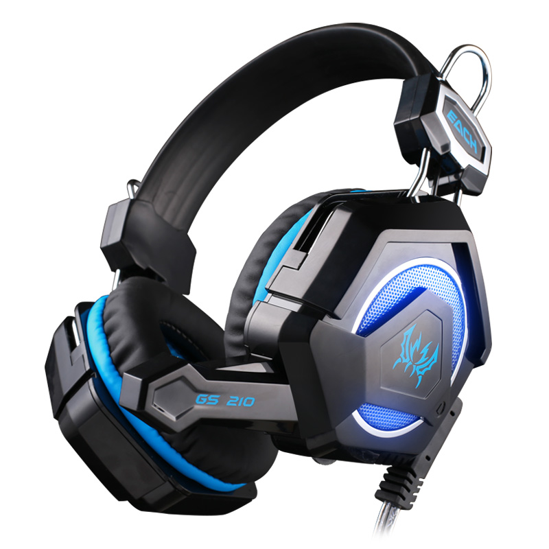 New EACH GS210 Stereo Gaming Headphones Game player Headset Headband with Microphone Colorful Breathing LED Light for PC Gamer each g8200 gaming headphone 7 1 surround usb vibration game headset headband earphone with mic led light for fone pc gamer ps4