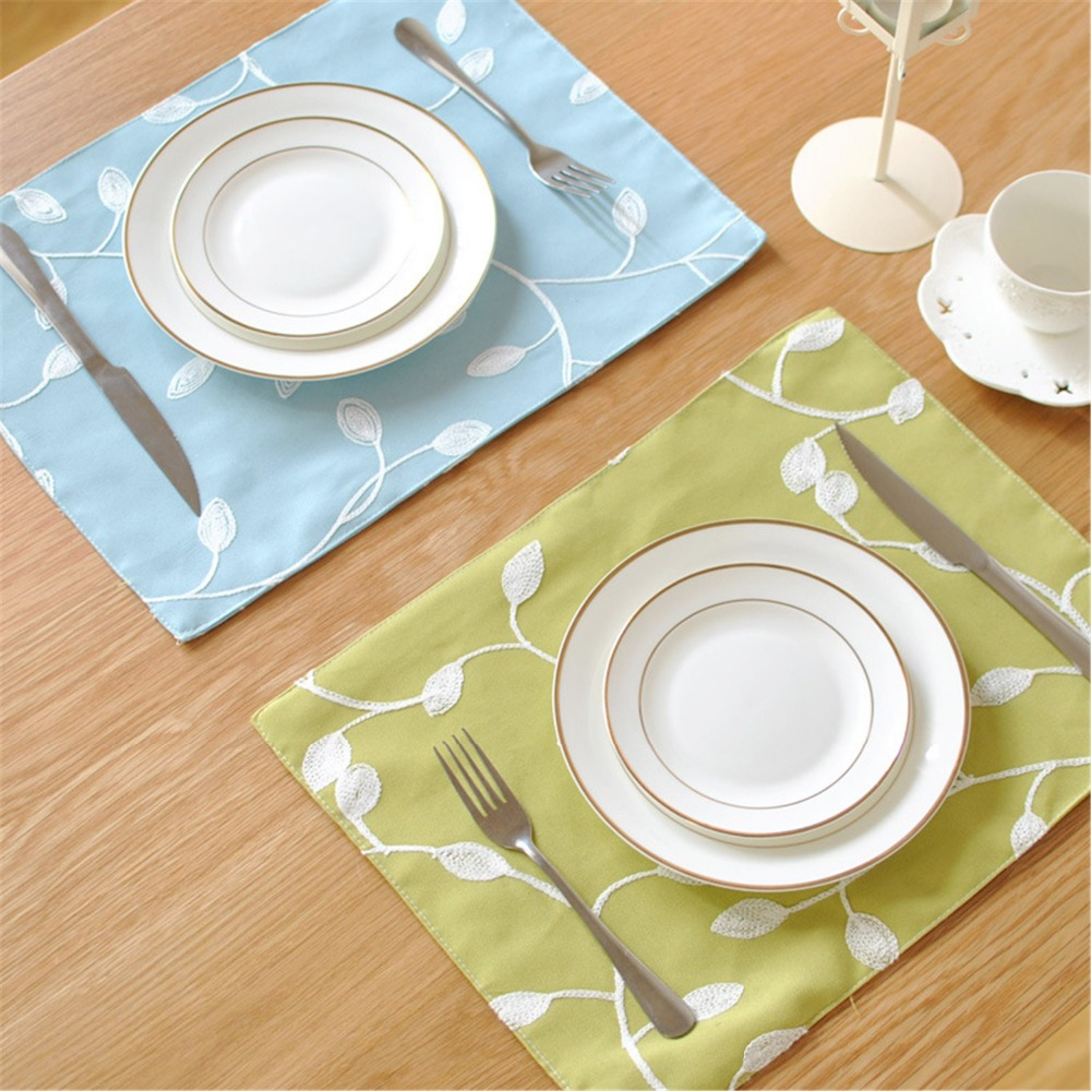 FUYA Embroidery Style Home Essential Cotton Deck Napkin Table Cloth Ethnic Style Roasted Tea Series Mat Pads