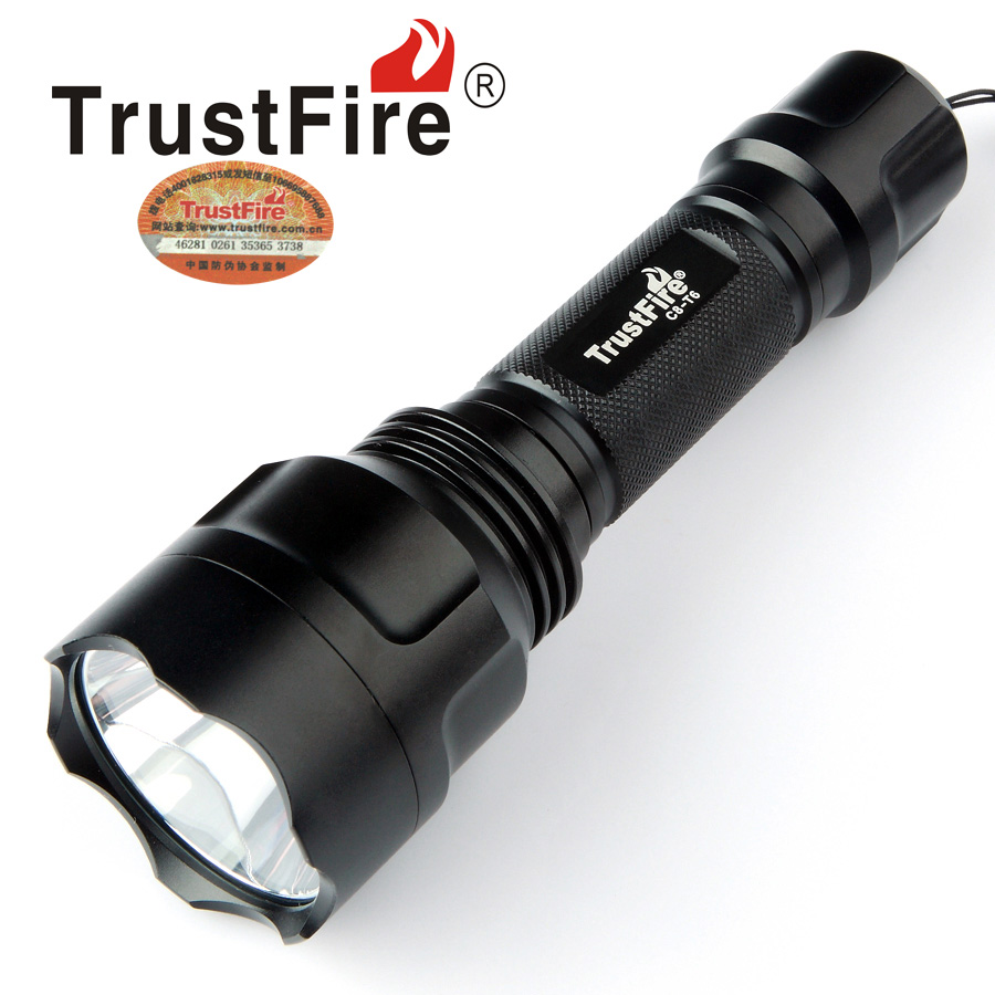 TrustFire C8-T6 2000LM CREE XML-T6 5-Mode LED Flashlight Abrasion-Resistance Torch Light by 18650 Battery for Self Defense rechargeable 2000lm tactical cree xm l t6 led flashlight 5 modes 2 18650 battery dc car charger power adapter