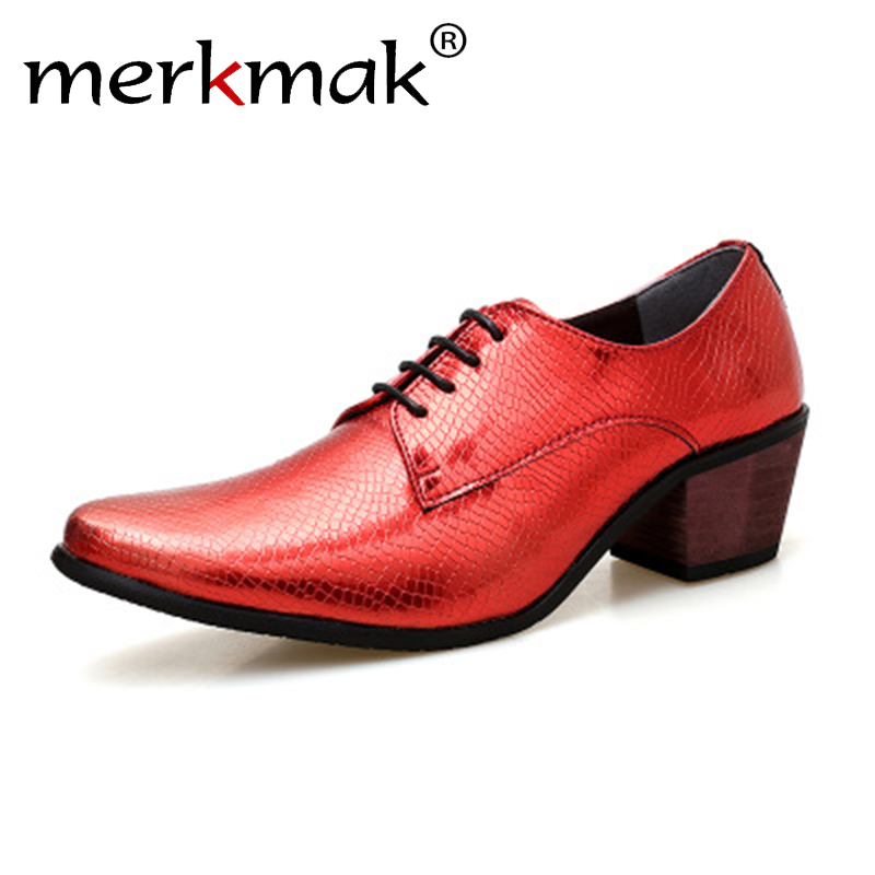 Merkmak Brand Men Dress Shoes Fashion Pointed Toe Business Oxford High Heels Lace Up Height Increse Shoes Wedding Party Formal