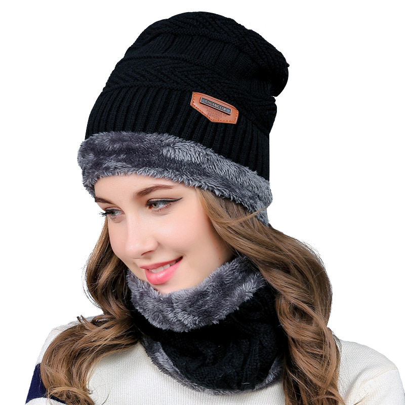 Winter Hats Scarves Set Knitted Beanies Men&Women Winter Thicker Hats Caps Black Bonnet Beanie Casual Scarf Neck Warmer beanie