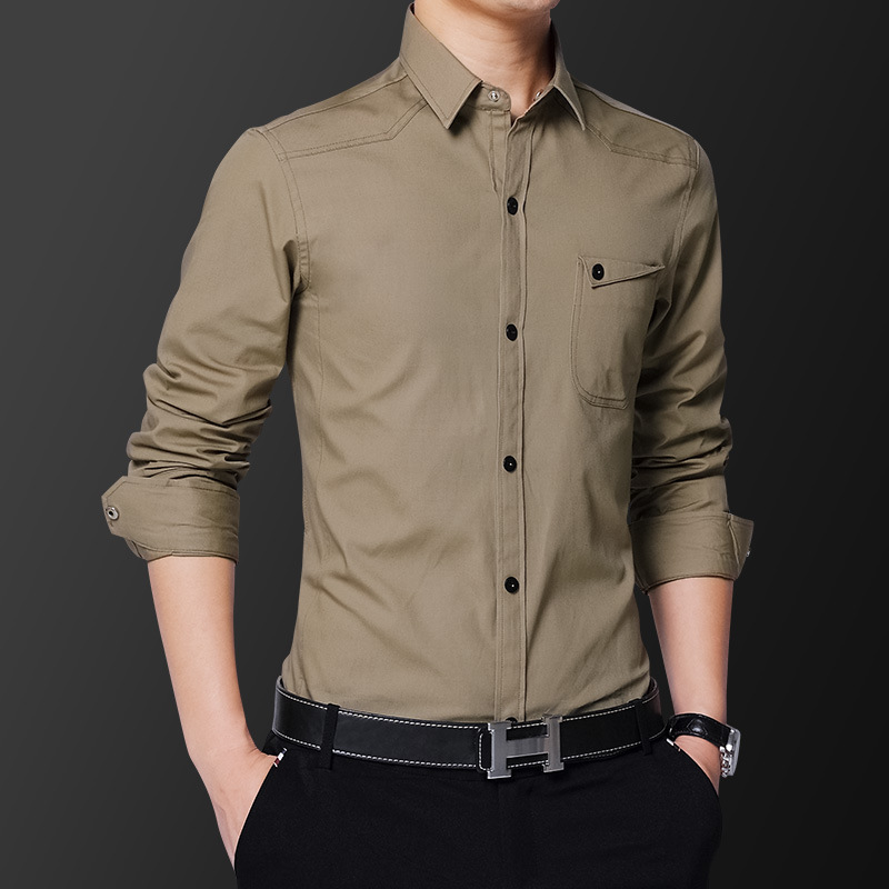 2018 New casual Brand Shirt Slim Fit Men Long Sleeve Shirt Plus Size M-5XL100% pure cotton Men Clothes Shirts