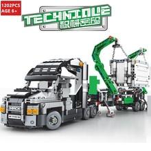 1202Pcs Container Truck Vehicles Car Building Blocks Sets LegoINGLs Technic City DIY Bricks Playmobil Kids Toys Christmas Gifts