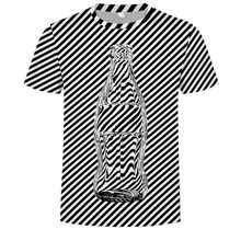 Newest Fashion Black And White Vertigo Hypnotic Printing T Shirt Unisxe Funny Short Sleeved Tees Tops Men's 3D Tee Drop(China)