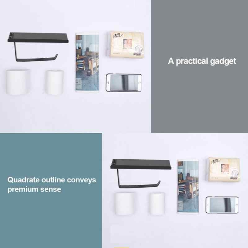 Przestrzeń aluminium do montażu na ścianie uchwyt na papier toaletowy uchwyt na papier do łazienki półki telefon tkanki pole łazienka akcesoria czarny