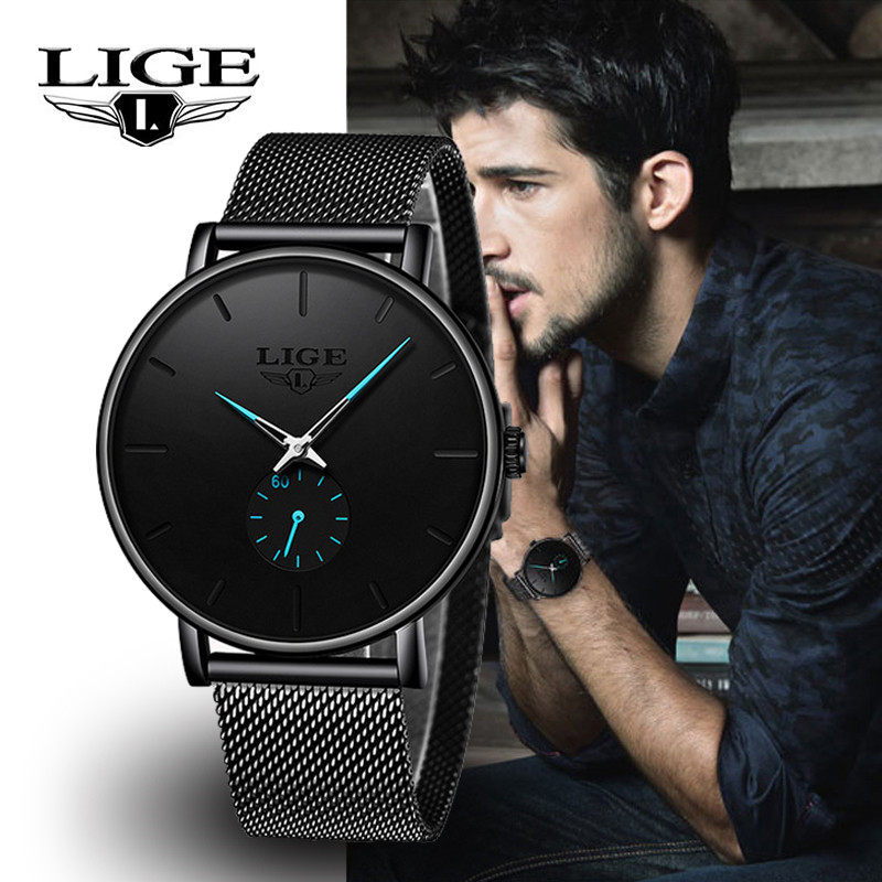 LIGE Mens Watches 2019 New Top Brand Fashion Quartz Watch Men Luxury Waterproof Watch Mesh Stainless Steel Strap reloj hombre  LIGE Mens Watches 2019 New Top Brand Fashion Quartz Watch Men Luxury Waterproof Watch Mesh Stainless Steel Strap reloj hombre