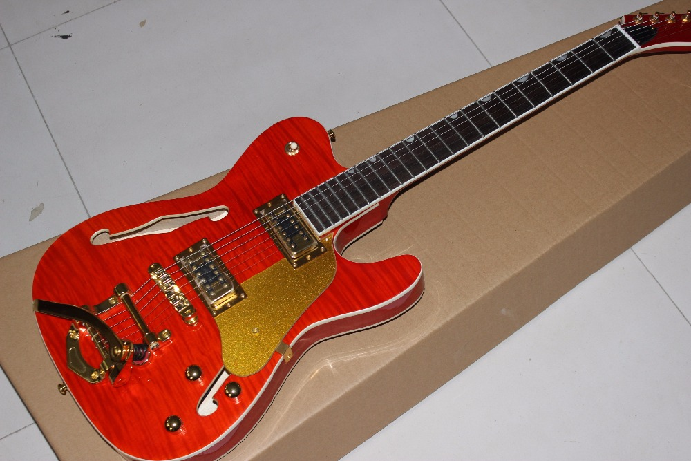 New red TELE JAZZ electric guitar, Rosewood fingerboard, frets cream binding,