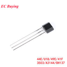 10 pces interruptor de sensor efeito hall a3144 44e u18 49e 41f 3503 oh137 elemento hall sem escova do motor elétrico oh3144 alta sensibilidade