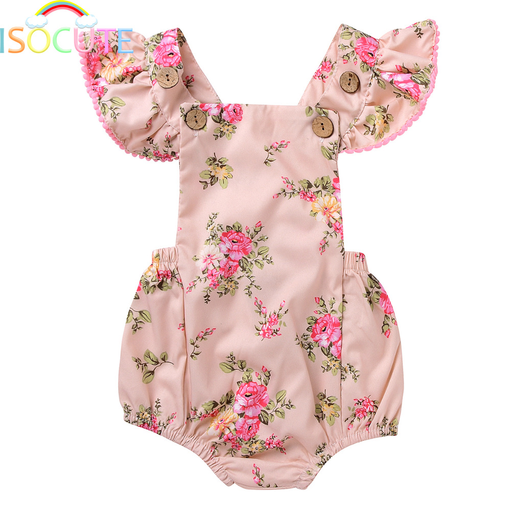 ISOCUTE  Summer Floral Printed Baby Romper Backless Ruffles Sleeve Infant Girl Clothes 100% Cotton Fabric Baby Onesie for Girls newborn infant baby girl clothes strap lace floral romper jumpsuit outfit summer cotton backless one pieces outfit baby onesie