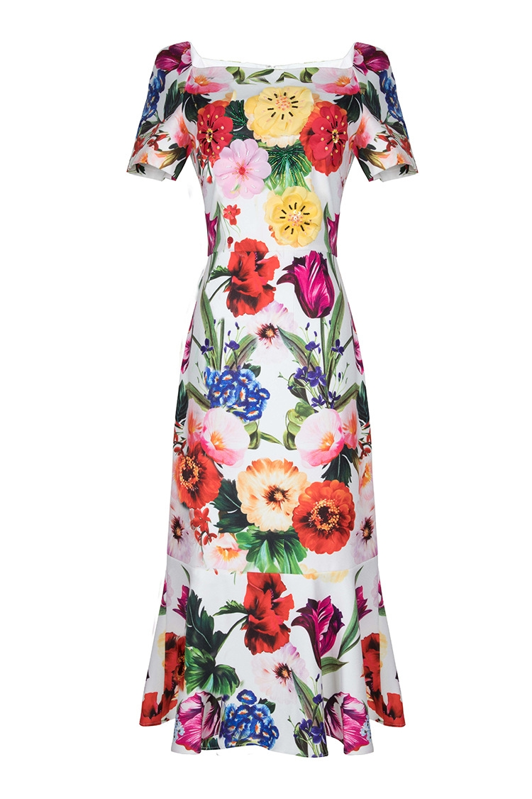 Three dimensional flower 2019 summer new short sleeve printed linen fishtail dress women s dress 180207LU01