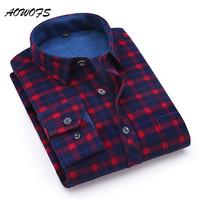 AOWOFS 2017 Winter   Shirts   Men Soft Flannel Plaid   Shirt   Regular Fit Men's Casual Long Sleeve   Shirt   Plus Size Free Warm Shipping
