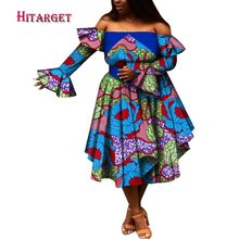 Hitarget 2018 Summer Bazin African Dresses for Women Dashiki Wax Print Splice Traditional Clothing WY089