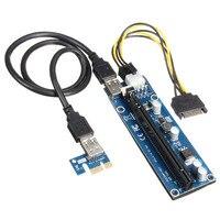 60cm PCI E 1x To 16x PCI E Express Graphics Card Riser Extender Adapter USB 3