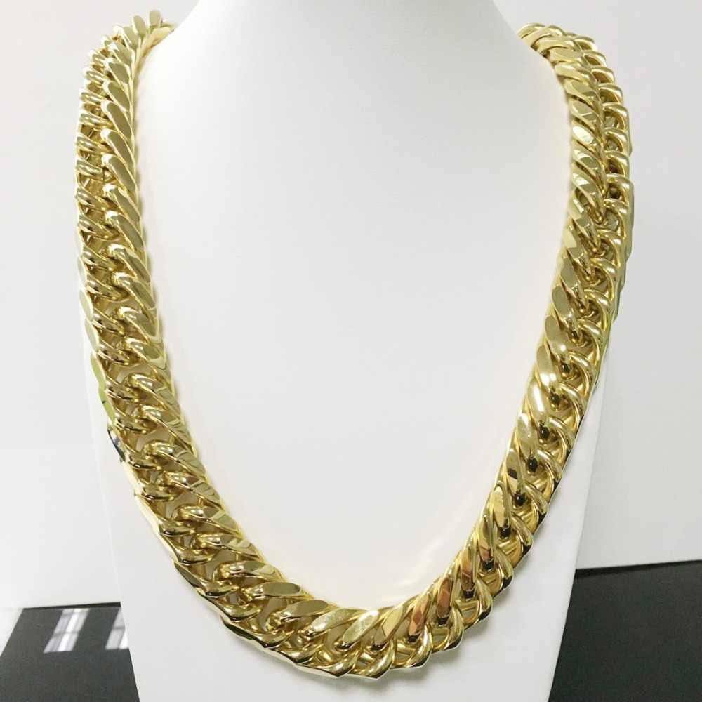 היפ הופ גברים של כבד שרשרת/צמיד 14/19 MM כסף/זהב טון קובני לרסן שרשרת עבה תכשיטים באיכות גבוהה 7-40 אינץ אורך