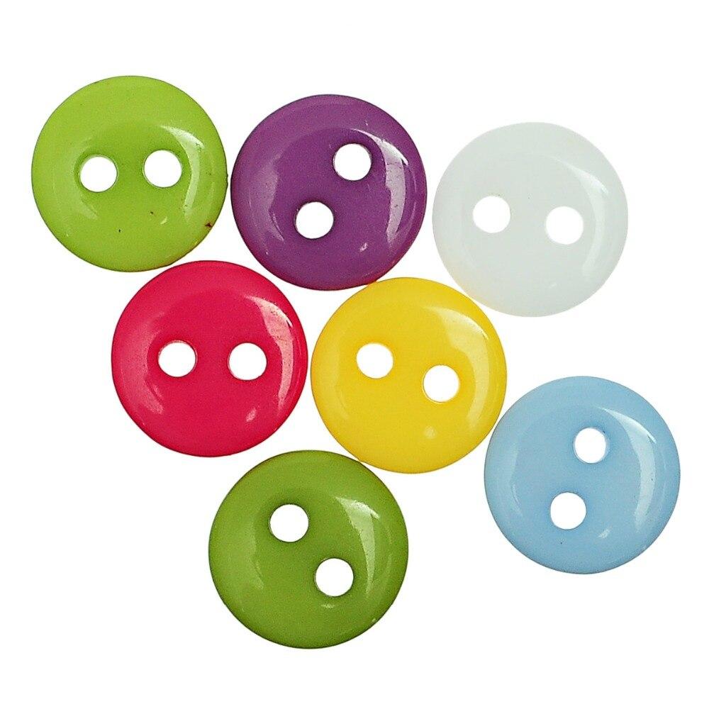 """DoreenBeads полимерная пуговица для шитья скрапбукинга одежды DIY украшения круглые разные на два отверстия 9 мм(3/"""") Диаметр, 55 шт"""