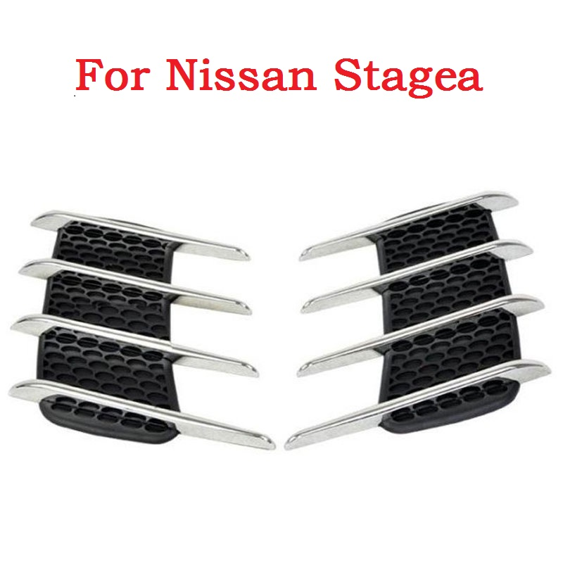 car styling New Car Shark Gills Exterior Decor Side Air Intake Vent Air Flow Grille Vent Outlet New Styling For Nissan Stagea epman universal 3 aluminium air filter turbo intake intercooler piping cold pipe ep af1022 af