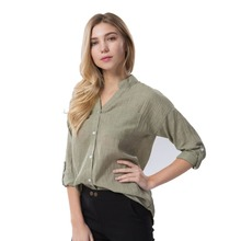 Dioufond Women Korean Style Autumn Shirts 2017 V-Neck Blouse Casual Cotton Shirt Ladies Pocket Tops Female blusas femininas