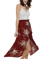 Women S Sexy Backless Floral Print Chiffon Red Dress Lace Patchwork V Neck High Low Beach