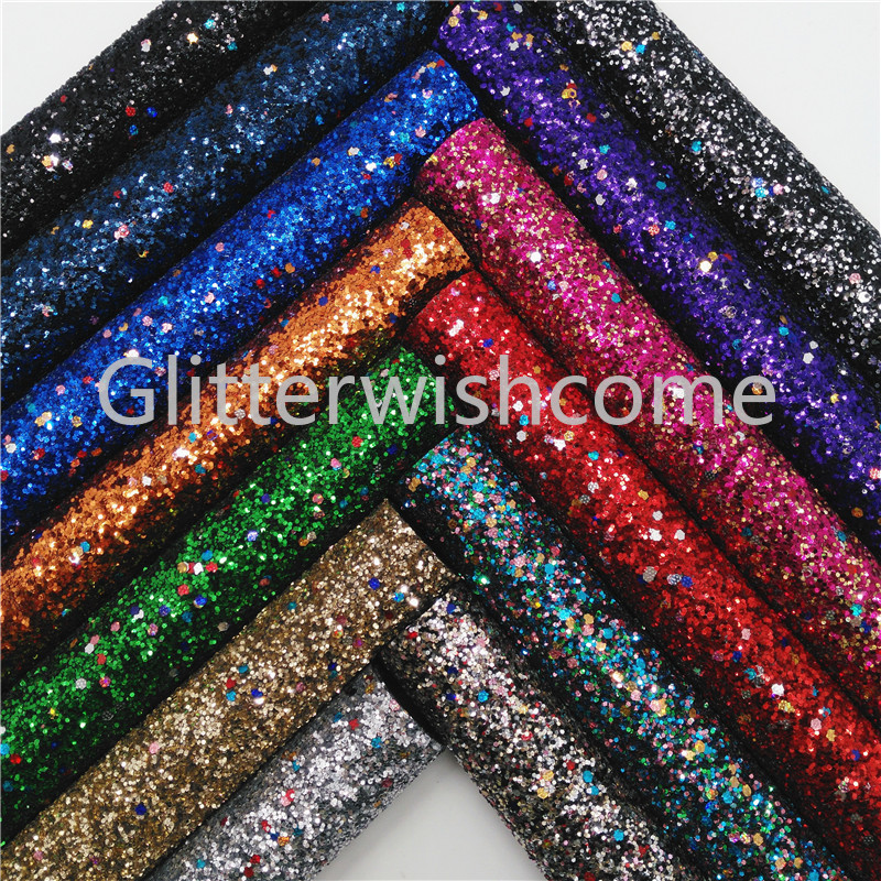 Glitterwishcome 21X29CM A4 Size Christmas Glitter Fabric, Chunky Glitter Leather Fabric Sheets, Glitter Vinyl For Bows, GM444A