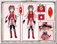 Puella Magi Madoka Magica Sakura Kyouko Cosplay Costume Christmas Party Dress Custom Made Free Shipping Skirt