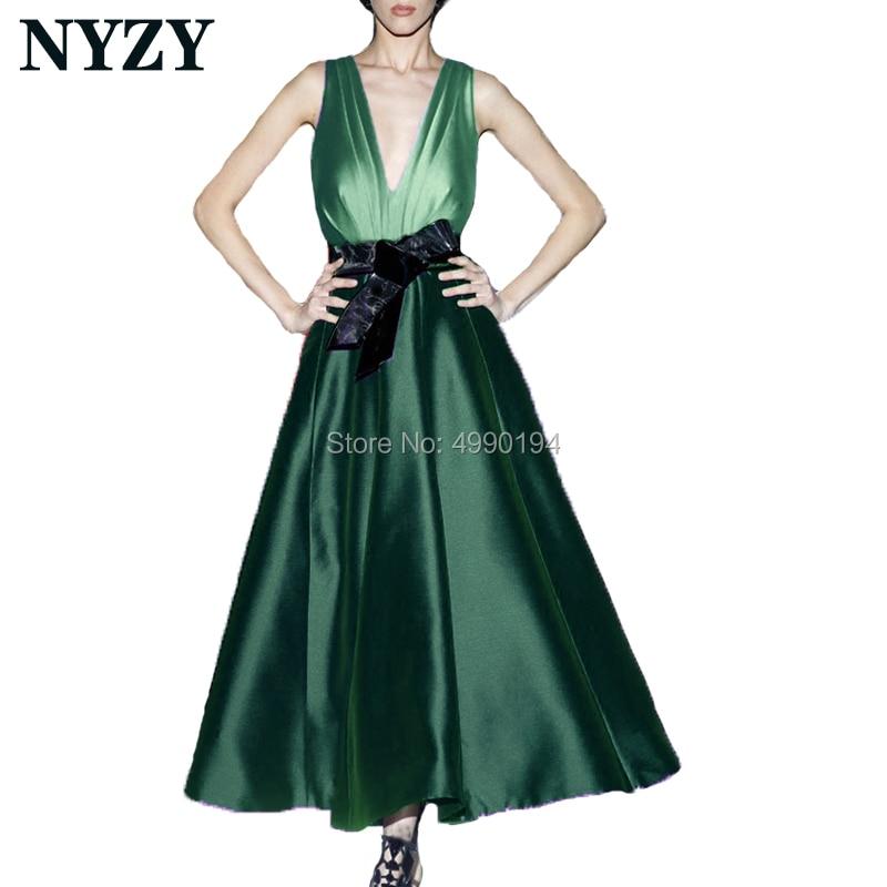 Robe de soirée courte vert émeraude 2019 NYZY C180B col en V noir nœud robe sur mesure robe de soirée robes elegantes