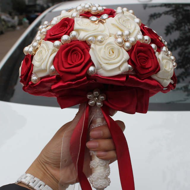 Online Shop Customized Ivory Wine Red Silk Flower Wedding Bouquet