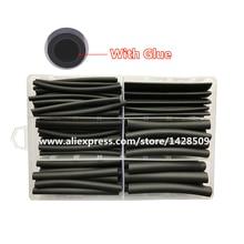 Термоусадочная трубка с клеем, 120 шт., 3:1, термоусадочная трубка с клеевым кабелем, черная Водонепроницаемая обертка