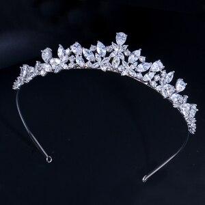 Image 5 - CWWZircons couronne de diadème de mariée en zircone cubique, accessoires de cheveux, accessoires de mariage, bijoux A008
