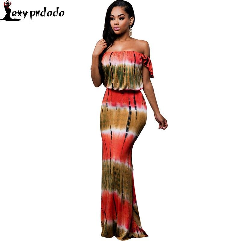 Pndodo Apparel Sexy Off The Shoulder Print Summer Dress High Waist Strapless Maxi Dresses Long Women Vintage Beach Dress Vestido