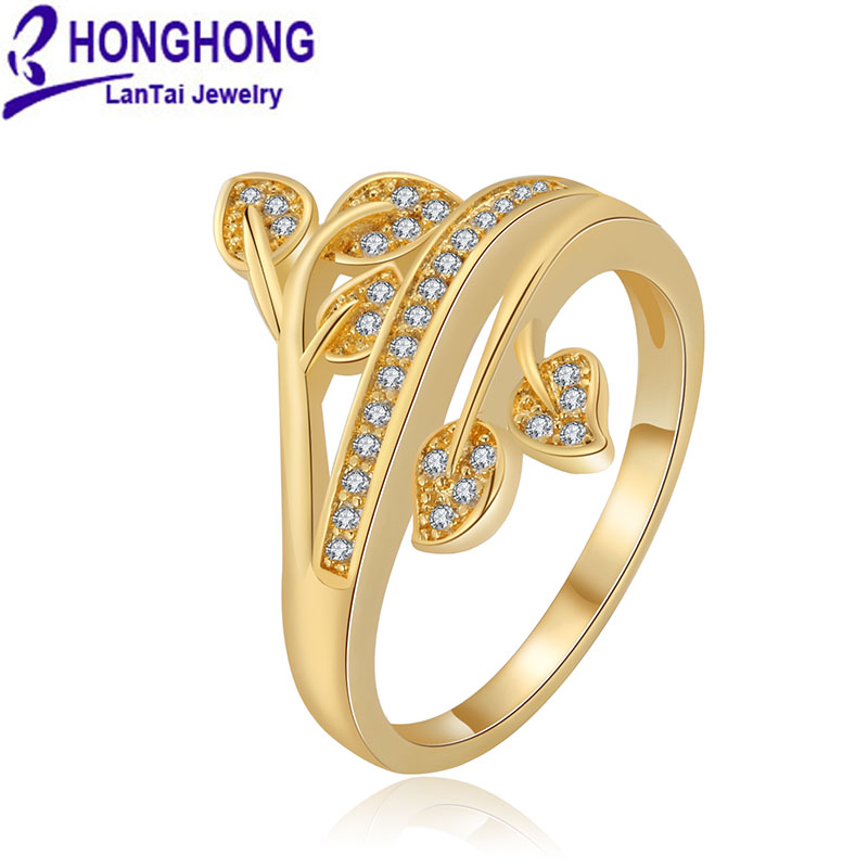 honghong high quality cubic zirconia leaf shape rings for. Black Bedroom Furniture Sets. Home Design Ideas