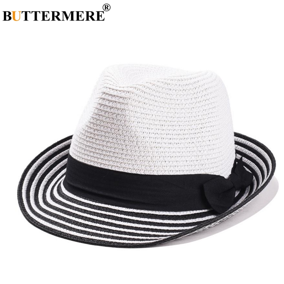 8f0702d96ee BUTTERMERE Large Brim Hat Sun Caps For Women Camel Summer Beach Hat Ladies  Wide Brim Casual Bowknot Anti-UV Vacation Straw HatsUSD 16.07 piece