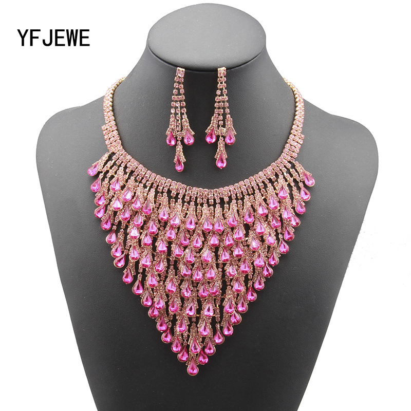 YFJEWE New Fashion Jewelry Sets for Women Crystal Necklace Earrings set Jewelry Water Drop Top Quality shine luxury design #N143 все цены