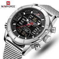 NAVIFORCE Luxus Marke Männer Sport Uhren herren Quarz LED Digital Uhr Männlichen Voller Stahl Military Armbanduhr Relogio Masculino