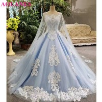 2017 Real Photos Blue Ball Gown Wedding Dress Long Train Luxury Lace Appliques Flowers Beaded Scoop