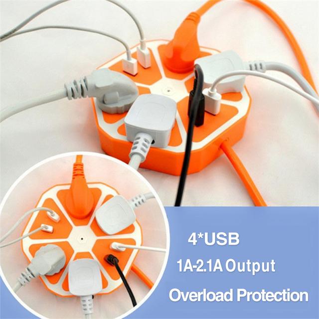 Universal Plug UE 4 Hexagon Soquetes e 4 Portas USB Extensão Tomada Elétrica AC 250 V 2500 W de Multi Interruptor tomada EG9470