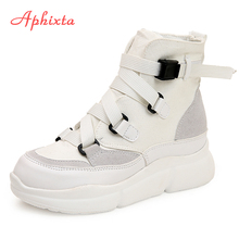 Aphixta Platform Martens Boots Shoes Women Canvas Boots Motorcycle Boots High He