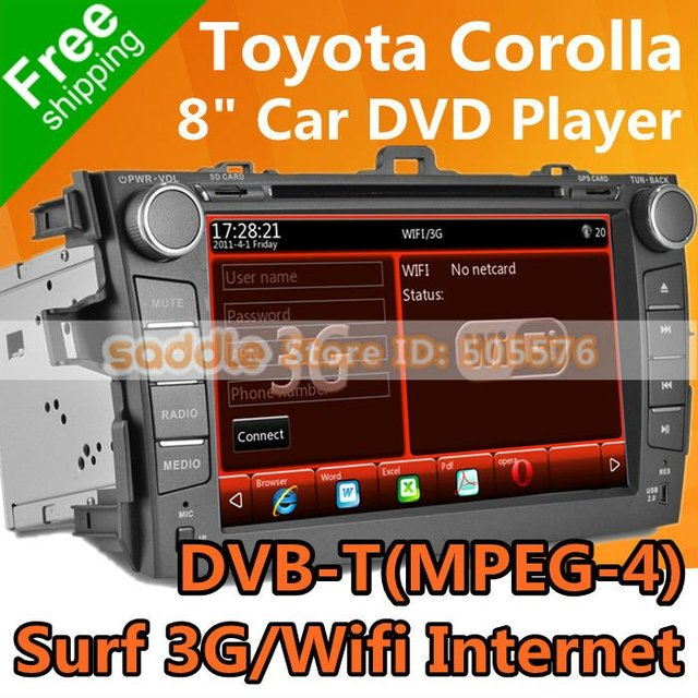 TOYOTA COROLLA Car DVD with GPS Navigation DVB-T(MPEG-4) RDS iPod Bluetooth WinCE Wifi 3G ! TOYOTA COROLLA Car Radio Wholesale!