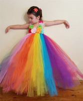 BL06 maxi vestido Baby girl Roupas Doces Rainbow Flower Tutu Pagent vestido up Tule Crianças Traje Infantil vestido de verão 2017 primavera