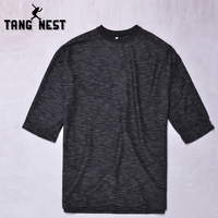 TANGNEST Solid Color T-shirt Men 2017 Hot Sale Loose Style T shirt Summer Leisure O-Neck T-shirt Asian Size M-5XL MTS2549
