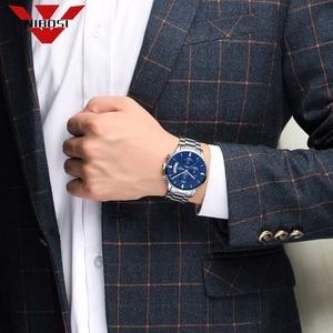 Image 4 - NIBOSI reloj azul para hombre, cronógrafo de lujo, militar, analógico, de cuarzo, Masculino