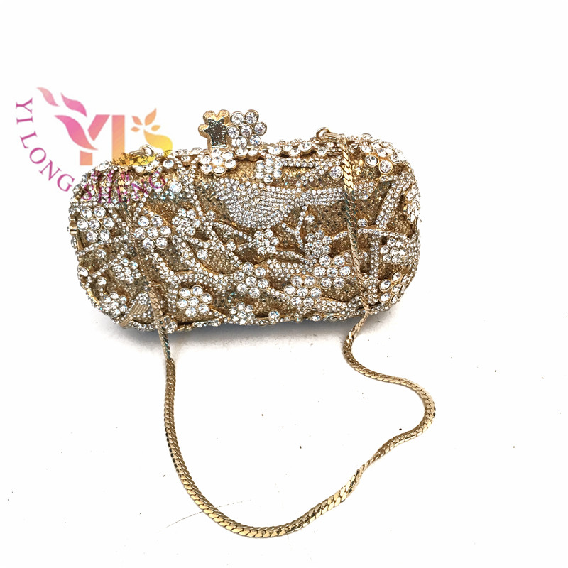 Fashion Clutch Bags for Women Gold Floral with Butterfly Crystal Purses Handbags Ladies Fashion Clutch Evening Party Bag YLS-A31 women luxury rhinestone clutch evening handbag ladies crystal wedding purses dinner party bag gold