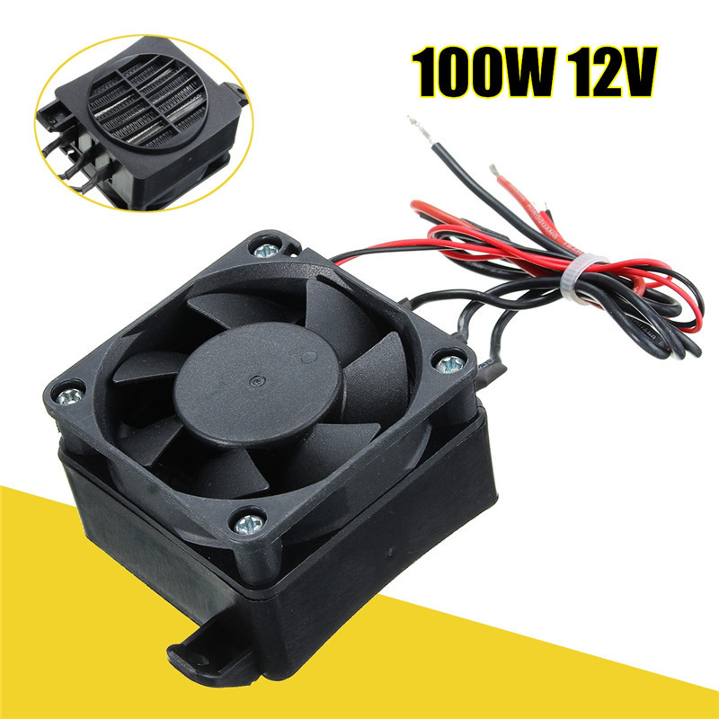 Black NEW 100W 12V DC PTC Fan Heater Constant Temperature Incubator Hot Space Thermostat